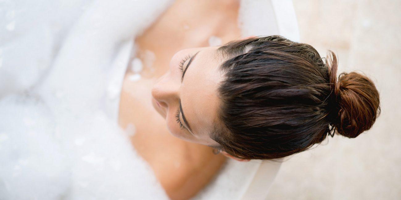 Beautiful woman taking a bath